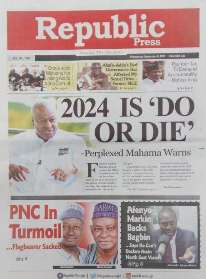 Newspaper Headline Of Wednesday, September 8, 2021 3
