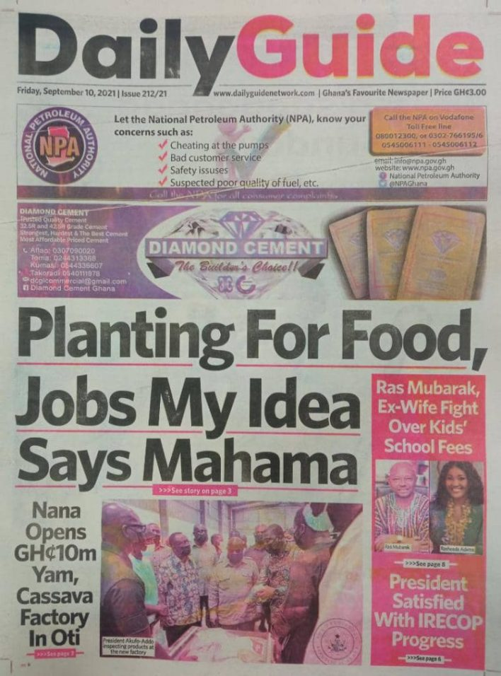 Newspaper Headline Of Friday, September 10, 2021 4