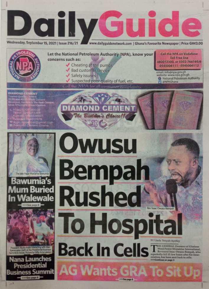 Newspaper Headline Of Wednesday, September 15, 2021 3