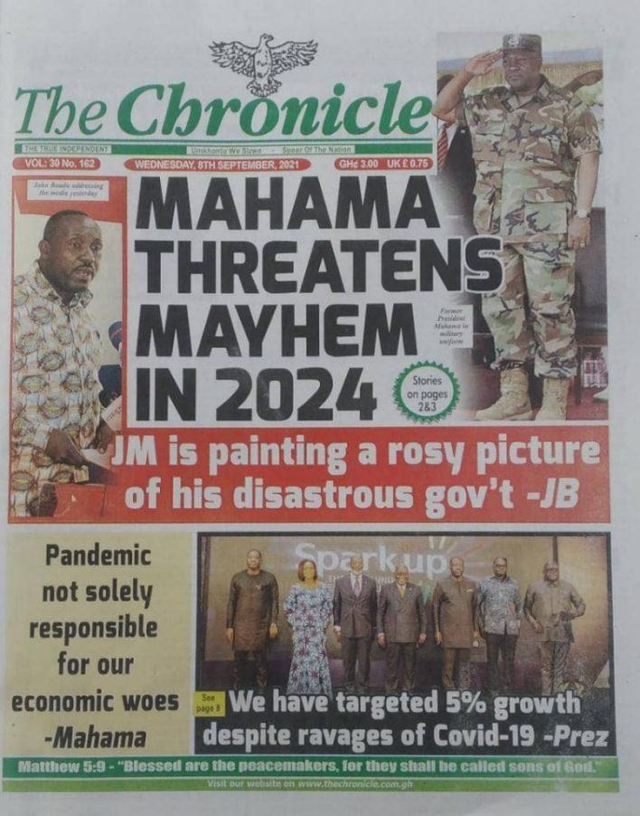 Newspaper Headline Of Wednesday, September 8, 2021 9