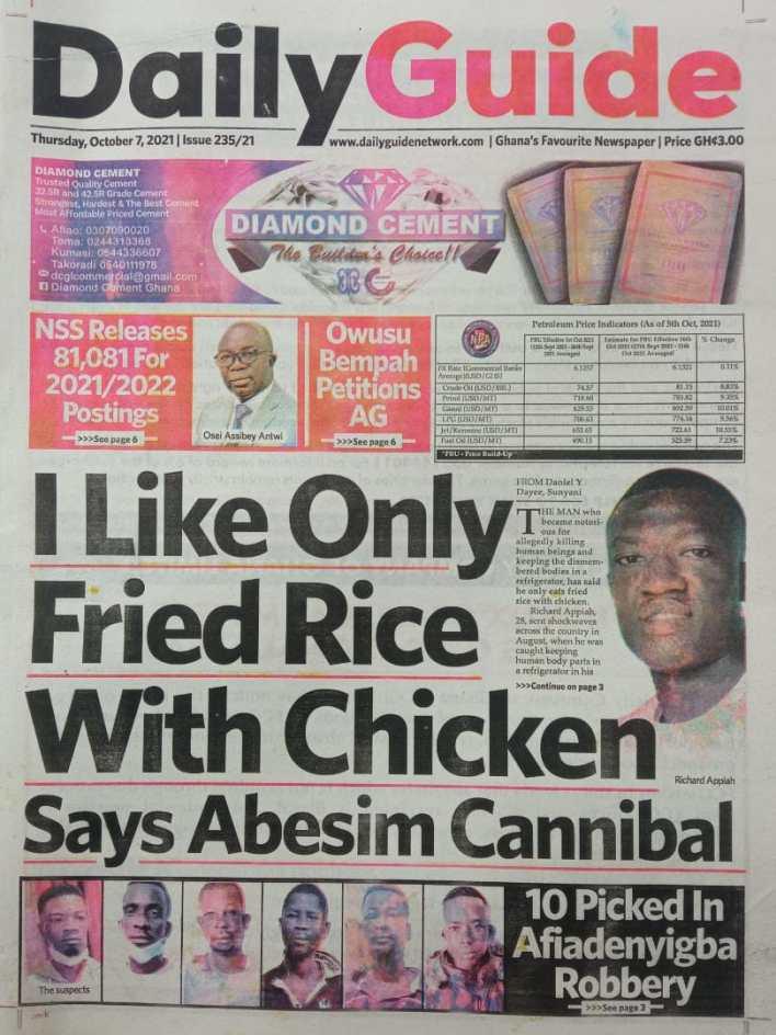 Newspaper Headline Of Thursday, October 7, 2021 4