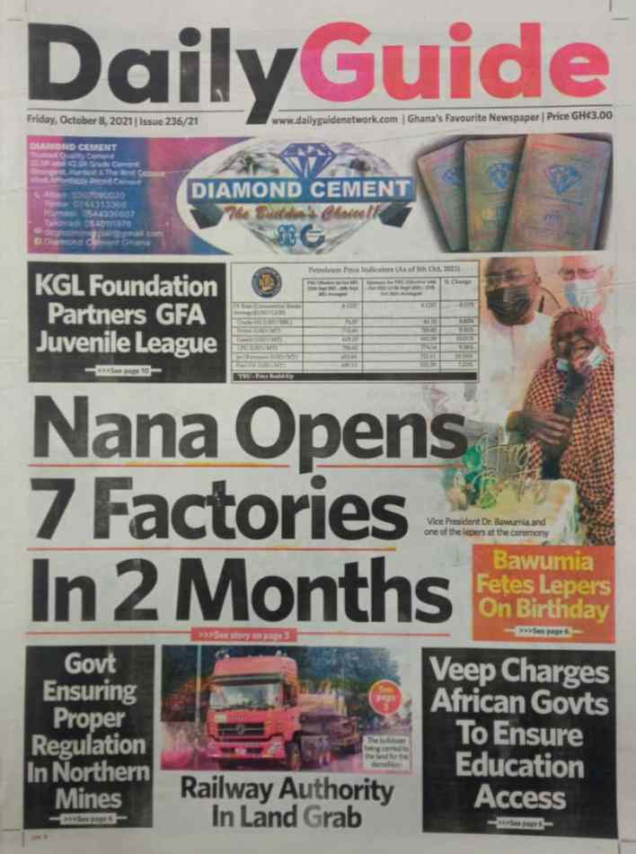 Newspaper headlines of Friday, October 8, 2021 3
