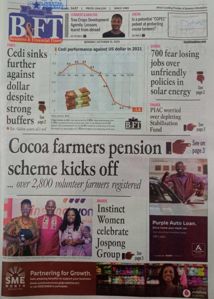 Newspaper Headline Of Monday, October 11, 2021 2