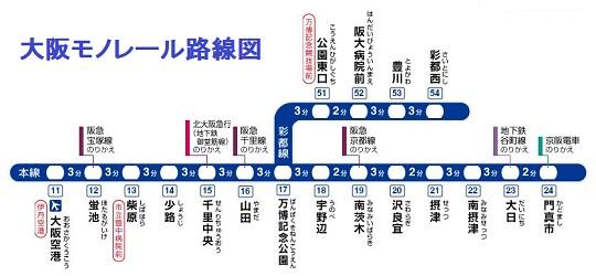 大阪モノレール路線図