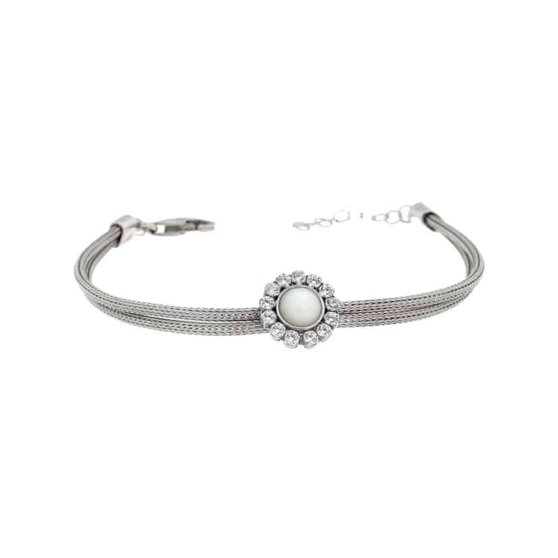 Stainless Steel Bracelet with Central Pearl and White Cubic Zirconias