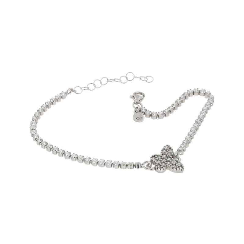 Sterling Silver Tennis Bracelet with Butterfly