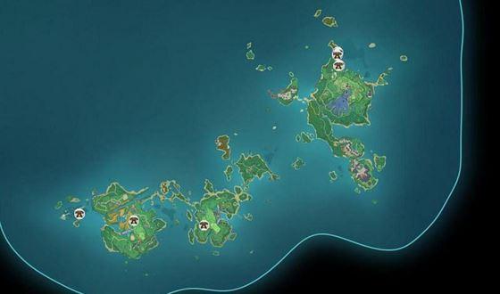 Карта с некоторыми возобновляемыми локациями Ruin Sentinel в Genshin Impact (Изображение через Sportskeeda)