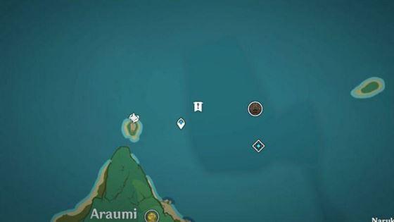 Расположение на карте старого каменного сланца у точки телепорта в руинах Арауми (изображение с Genshin Impact)