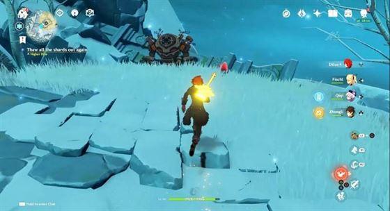Первый алый кварц рядом со стражем руин (Изображение с Gamers Heroes, Youtube)