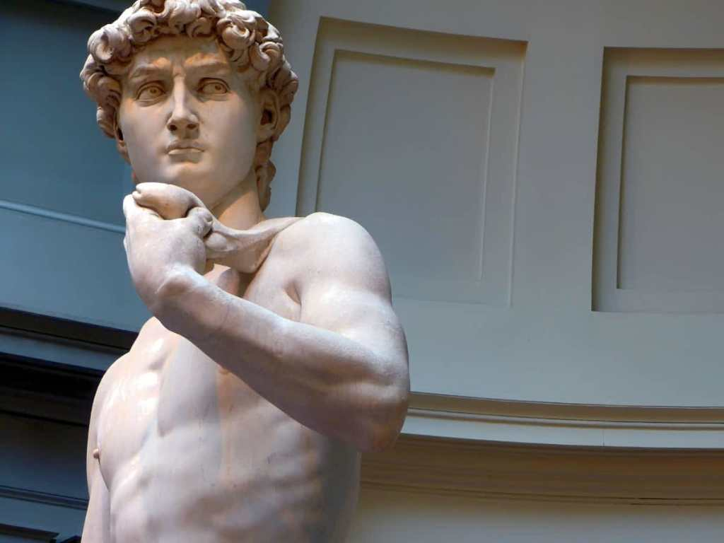 Italy, Florence, Michelangelo's David in the Accademia Gallery