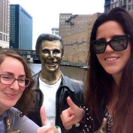 Posing with the Bronze Fonz in Milwaukee, WI