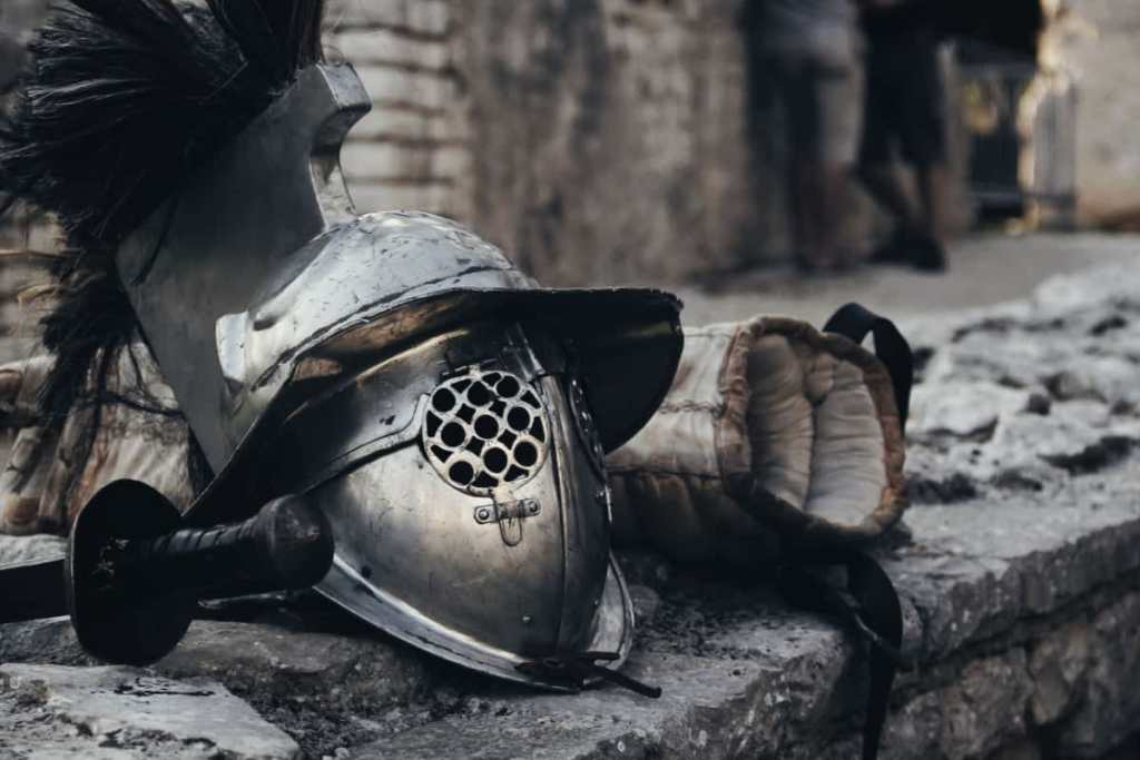 Gladiator helmet and assorted gear