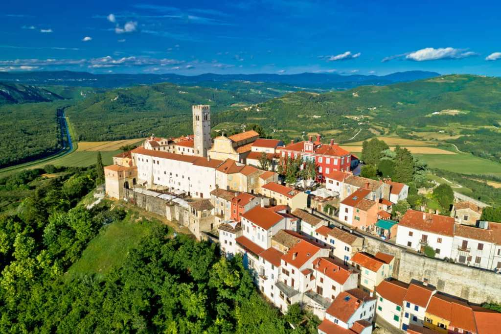 The hill top town of Motovun surrounded by forests and fields