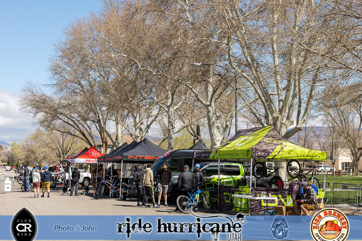 Mountain bike festival vendor booths on a sunny day