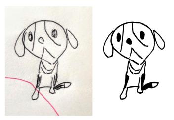 鉛筆で描かれた手書きビーグル犬のイラストをデータに