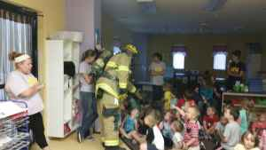 Preschoolers Meet Firefighter