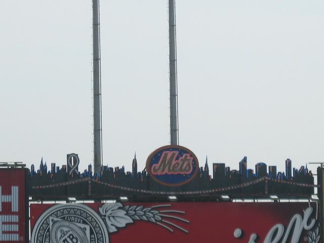 Skyline sillouhette on the scoreboard.