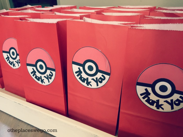 Pokemon Birthday Party - Goodie Bags with Pokeball thank you