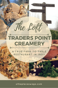 The Loft Restaurant at Traders Point Creamery offers a true farm to table experience. Amazing food like macaroni and cheese, grilled cheese, cheese tray, salads, ice cream.