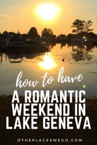 How to have a romantic getaway in Lake Geneva including a stay at The Abbey Resort and fun activities around the area like Studio Winery, Lake Geneva Pie Company, time at Fontana Beach, and a walk around Geneva Lake's Shore Path.