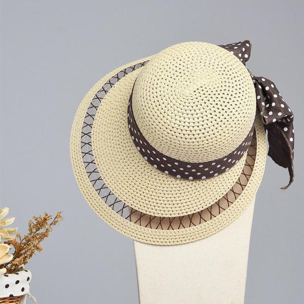 LYZA Women Summer Hollow Wide Brim Beach Sun Hat Casual Travel Visor Panama Straw Hat