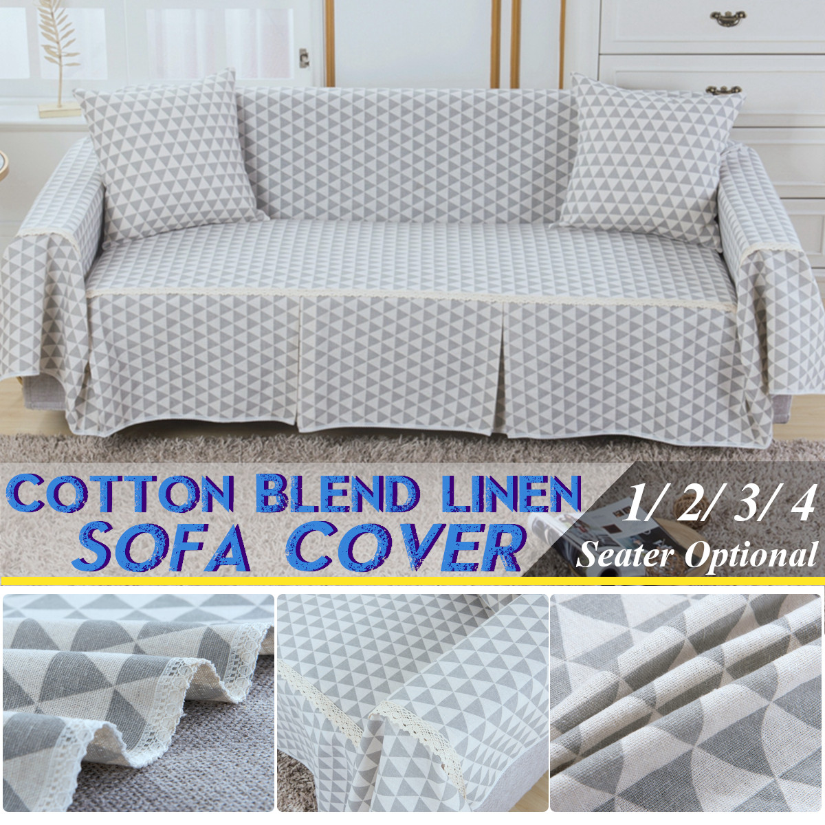 Thicken Cotton Blend Sofa Cover Couch Slipcover 1 4 Seater Chair Covers Protector For Living Room