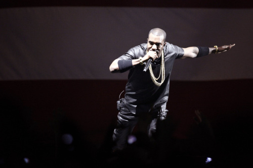 US rapper Kanye West performs during a c