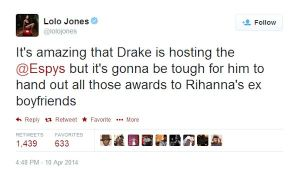 OLYMPIAN_LOLOL JONES TAKES SHOT ABOUT RIHANNA