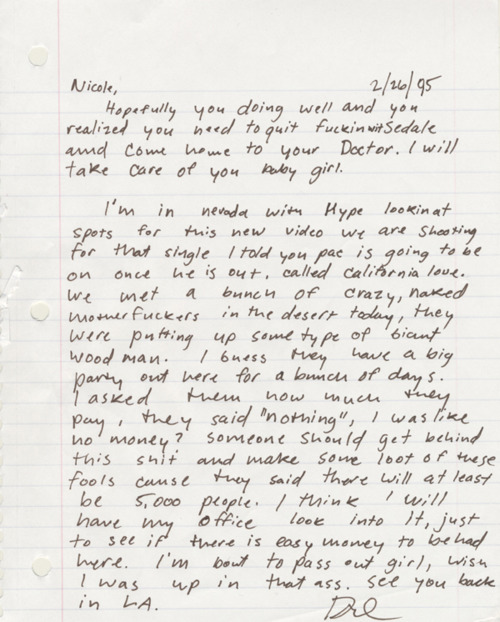 Dr. Dre's love letter to a girl when he was a young man