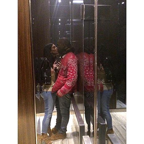 KIM KARDASHIAN AND KANYE ON ELEVATOR _OTHER SIDE OF THE FAME