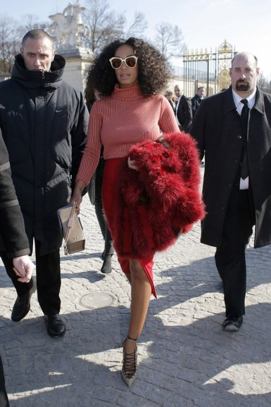 Solange leaving Paris' jardin des tuileries after Carven's fall 2015 presentation on Thursday