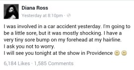 Diana Ross car accident Facebook post
