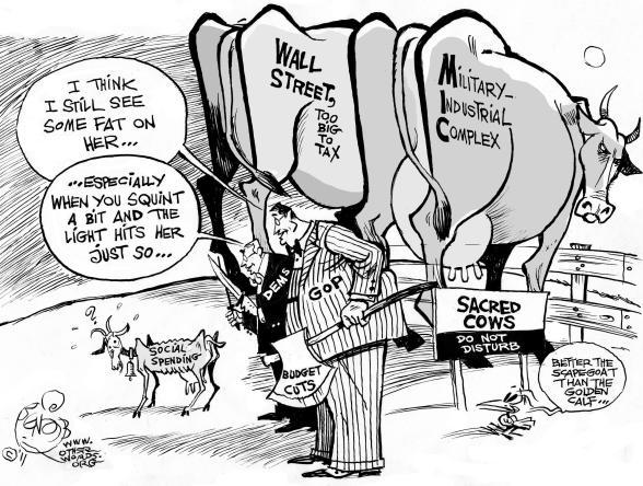 Scapegoating Social Spending cartoon