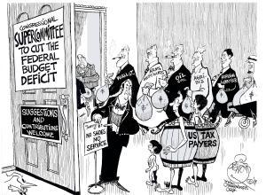 Supercommittee Lobbyists, an OtherWords cartoon by Khalil Bendib.