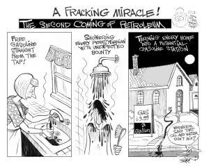 A Fracking Miracle, an OtherWords cartoon by Khalil Bendib.