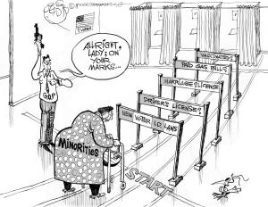 Voting Rights Obstacles, an OtherWords cartoon by Khalil Bendib.