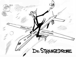 Dr. Strangedrone, an OtherWords cartoon by Khalil Bendib.