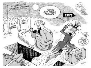 Declaring Victory in Afghanistan, an OtherWords cartoon by Khalil Bendib.