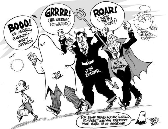 Spooky Congress, an OtherWords cartoon by Khalil Bendib
