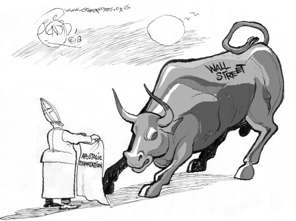 Pope Francis Riles Wall Street, an OtherWords cartoon by Khalil Bendib