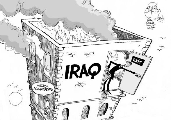 Obama's New Iraq Strategy, an OtherWords cartoon by Khalil Bendib