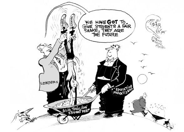Student Debt Collectors, an OtherWords cartoon by Khalil Bendib