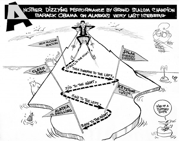 Zigging and Zagging Down a Slippery Slope, an OtherWords cartoon by Khalil Bendib