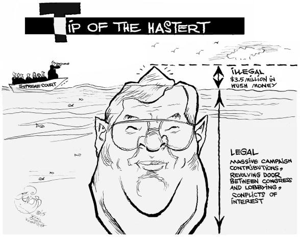 Tip of the Hastert, an OtherWords cartoon by Khalil Bendib