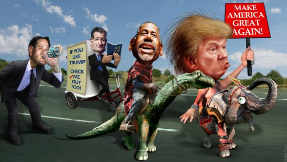 Republican-Parade-DonkeyHotey-Trump-Carson-Cruz