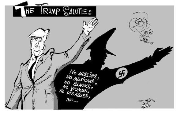 Heil Trump, an OtherWords cartoon by Khalil Bendib