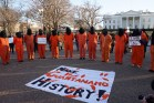 Members of the group Witness Against Torture protest against the Guantanamo Bay prison outside the White House, 2019. (Shutterstock)