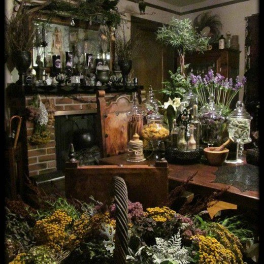 Herbs in the kitchen and plants in the halls. Witchy decorating ideas should always include the elements.
