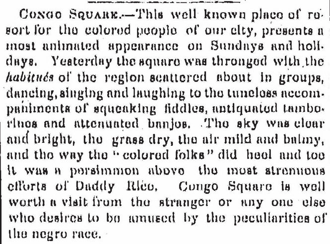 """Newspaper clipping 1848 detailing the """"dances"""" at Congo Square."""