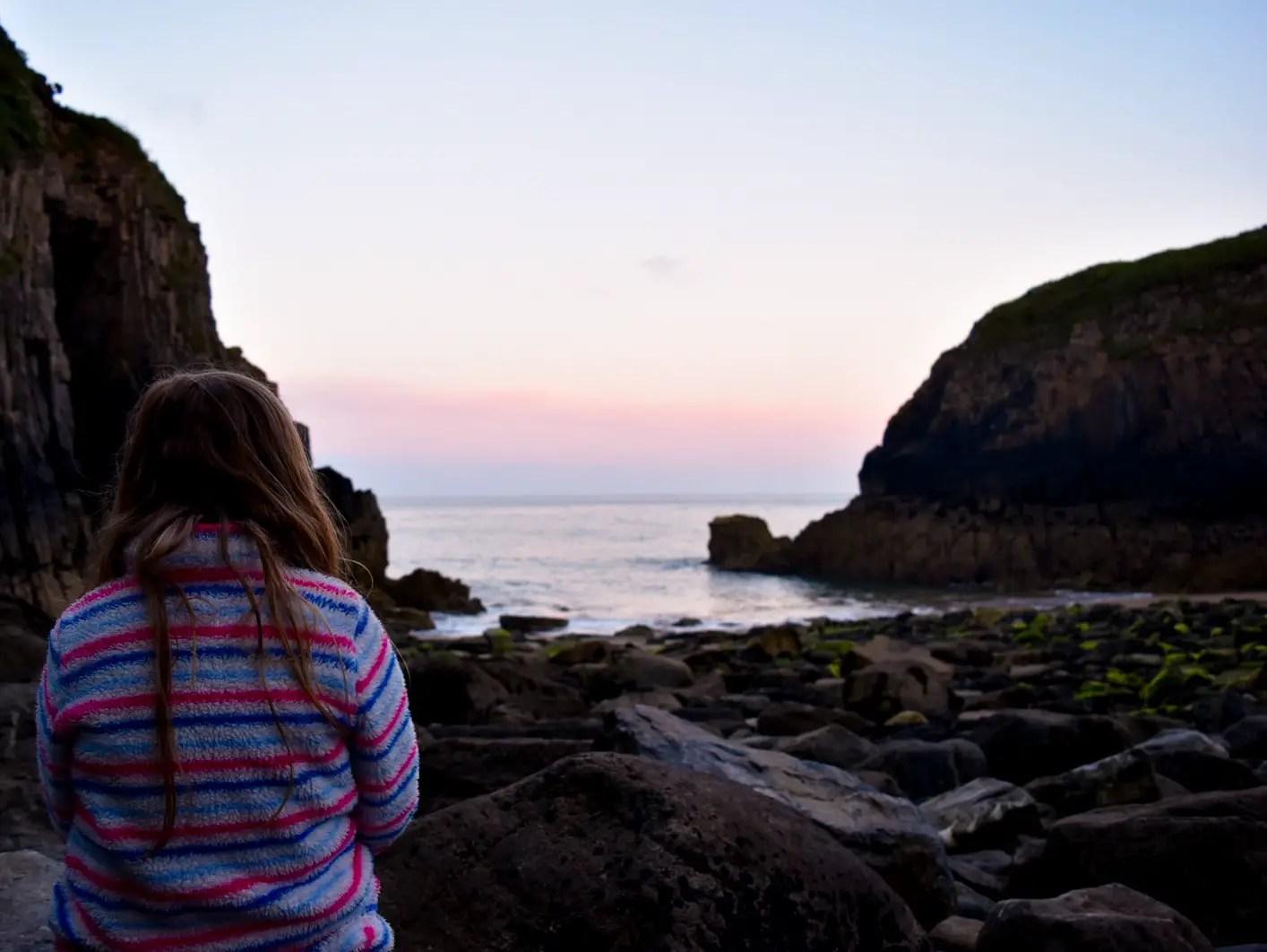 sunset at church doors cove Pembrokeshire